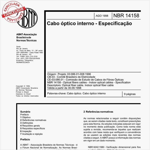 Cabo óptico interno - Especificação