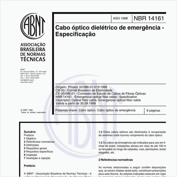 Cabo óptico dielétrico de emergência - Especificação