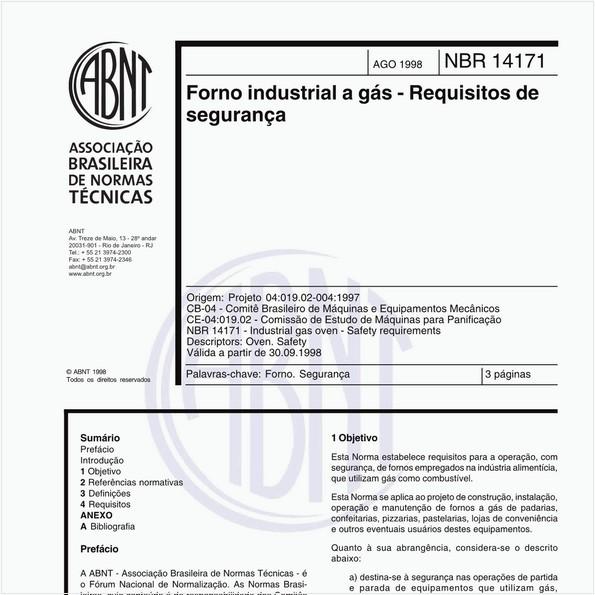Forno industrial a gás - Requisitos de segurança