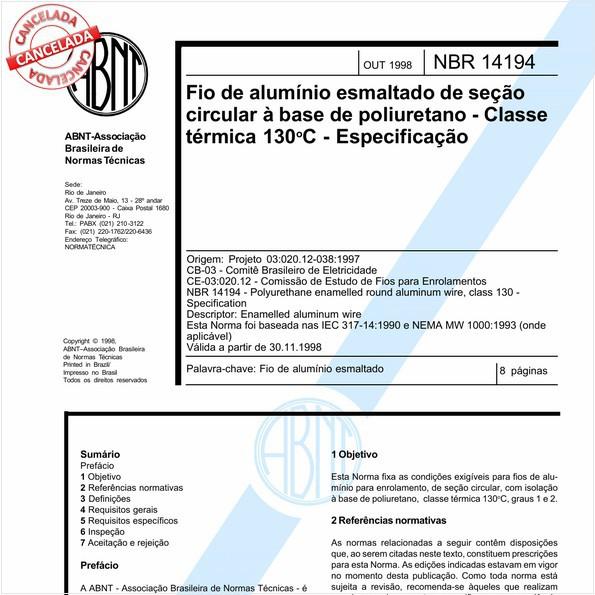 Fio de alumínio esmalte de seção circular à base de poliuretano - Classe térmica 130 graus Celsius - Especificação