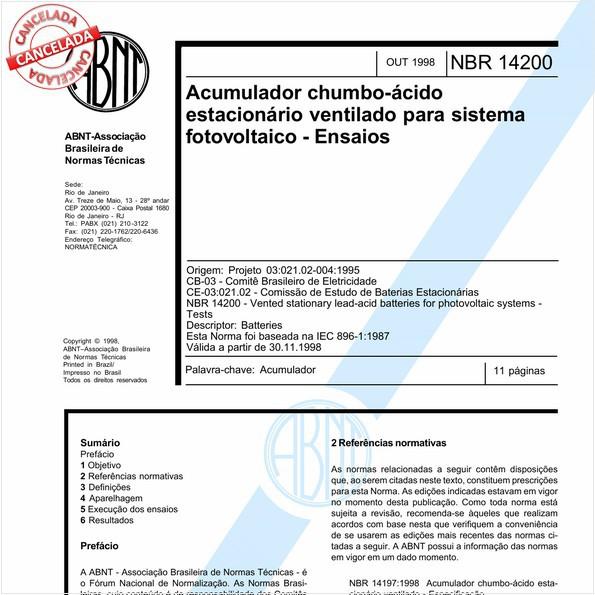 Acumulador chumbo-ácido estacionário ventilado para sistemas fotovoltáico - Ensaios
