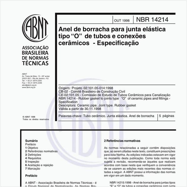 """Anel de borracha para junta elástica tipo """"O"""" de tubos e conexões cerâmicos - Especficação"""