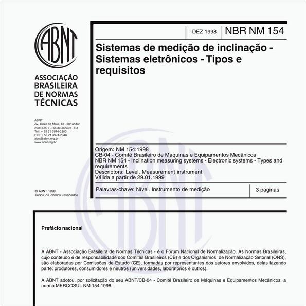 Sistemas de medição de inclinação - Sistemas eletrônicos - Tipos e requisitos
