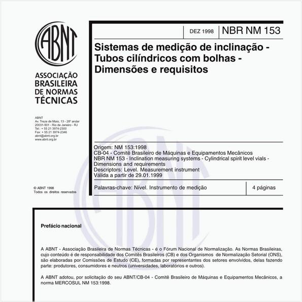 Sistemas de medição de inclinação - Tubos cilíndricos com bolhas - Dimensões e requisitos