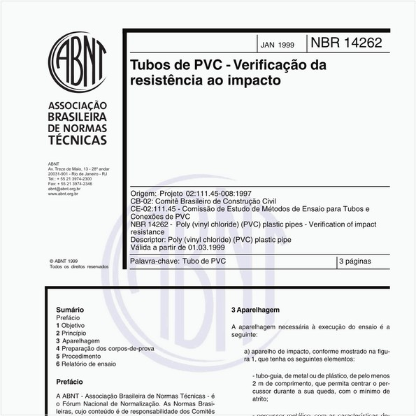 Tubos de PVC - Verificação da resistência ao impacto
