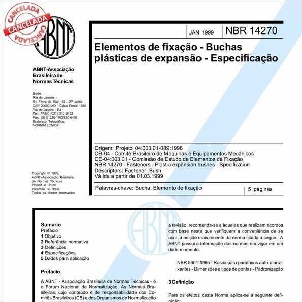 Elementos de fixação - Buchas plásticas de expansão - Especificação