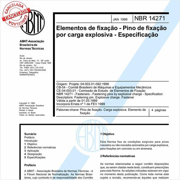 Elementos de fixação - Pino de fixação por carga explosiva - Especificação