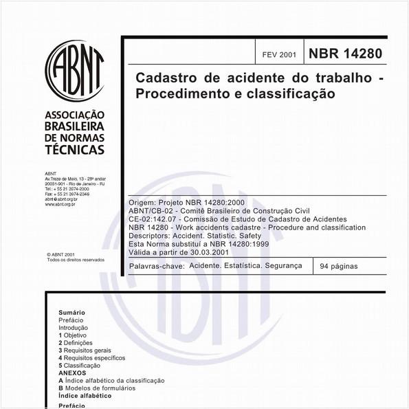 Cadastro de acidente do trabalho - Procedimento e classificação