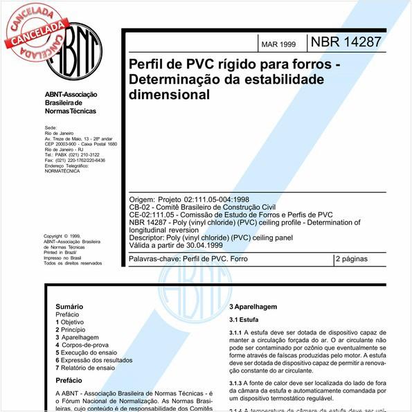 Perfil de PVC rígido para forros - Determinação da estabilidade dimensional