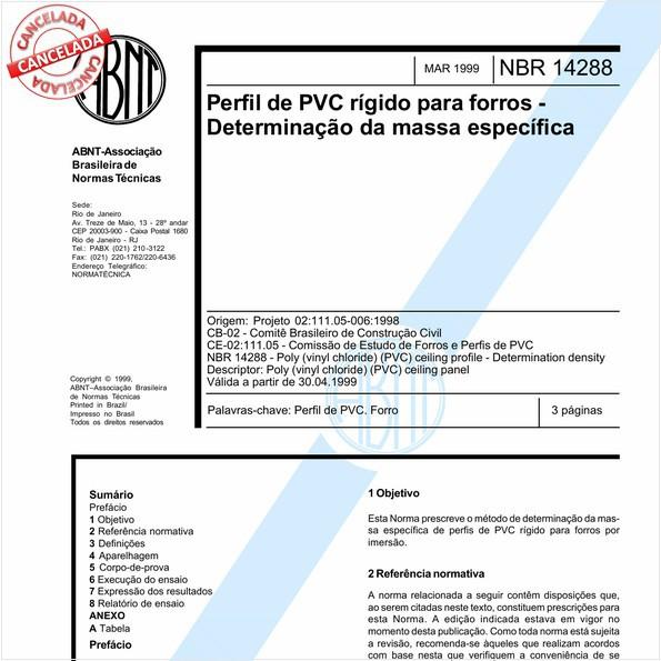 Perfil de PVC rígido para forros - Determinação da massa específica