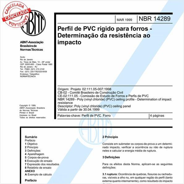 Perfil de PVC rígido para forros - Determinação da resistência ao impacto