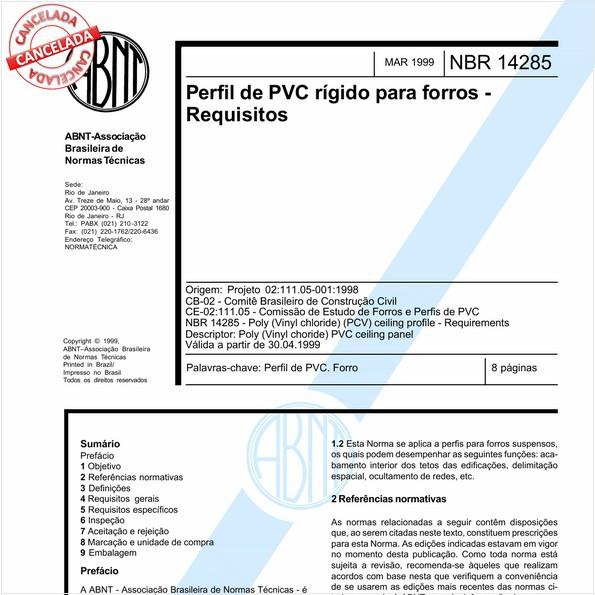 NBR14285 de 04/2014
