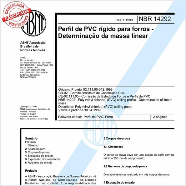 Perfil de PVC rígido para forros - Determinação da massa linear