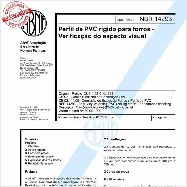 Perfil de PVC rígido para forros - Verificação do aspecto visual