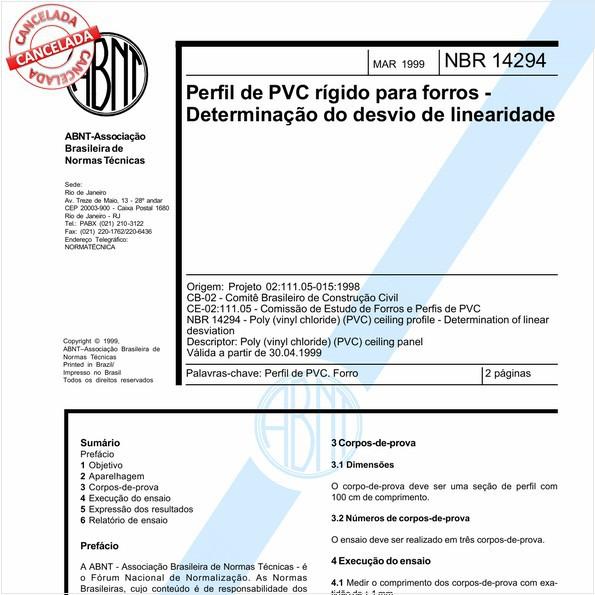Perfil de PVC rígido para forros - Determinação do desvio de linearidade