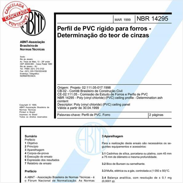 Perfil de PVC rígido para forros - Determinação do teor de cinzas