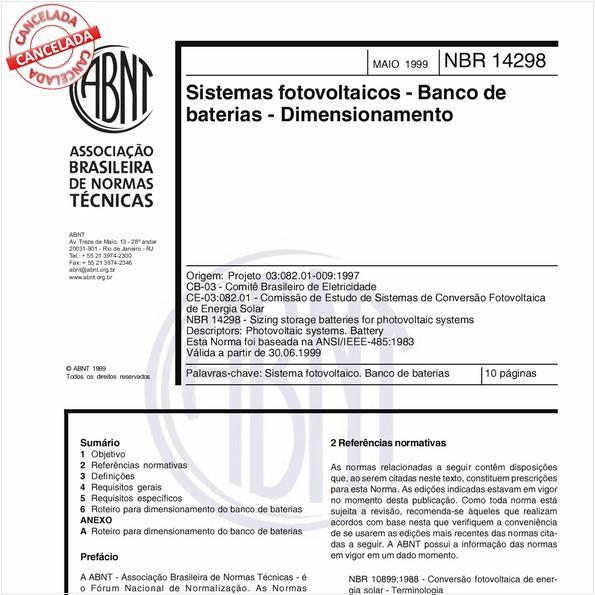 Sistemas fotovoltaicos - Banco de baterias - Dimensionamento