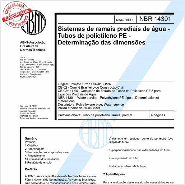 Sistemas de ramais prediais de água - Tubos de polietileno PE - Determinação das dimensões