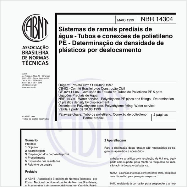 Sistemas de ramais prediais de água - Tubos e conexões de polietileno PE - Determinação da densidade de plásticos por deslocamento