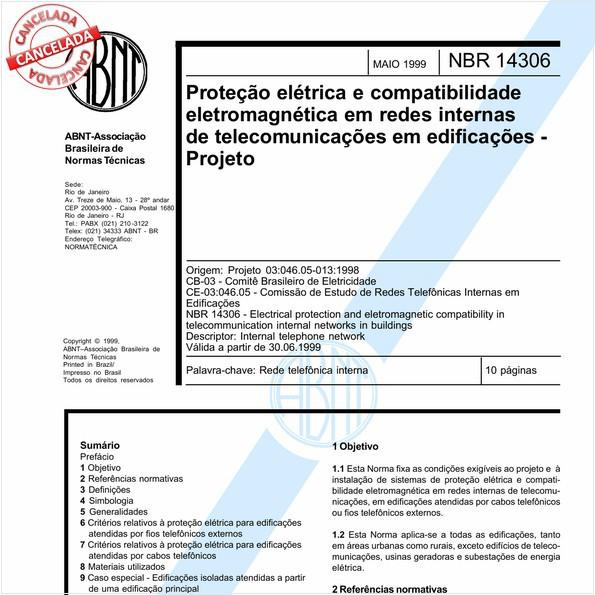 Proteção elétrica e compatibilidade eletromagnética em redes internas de telecomunicações em edificações - Projeto