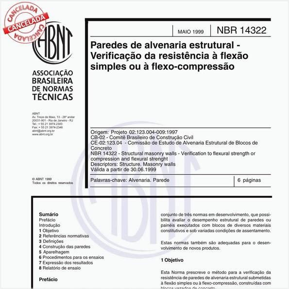 Paredes de alvenaria estrutural - Verificação da resistência à flexão simples ou à flexo-compressão