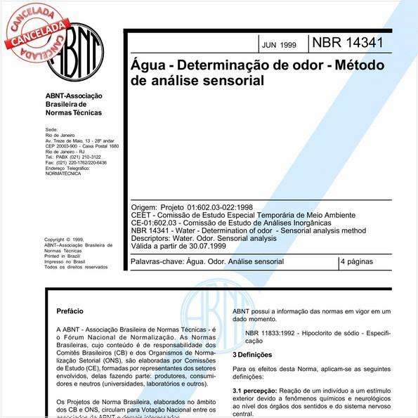 Água - Determinação de odor - Método de análise sensorial