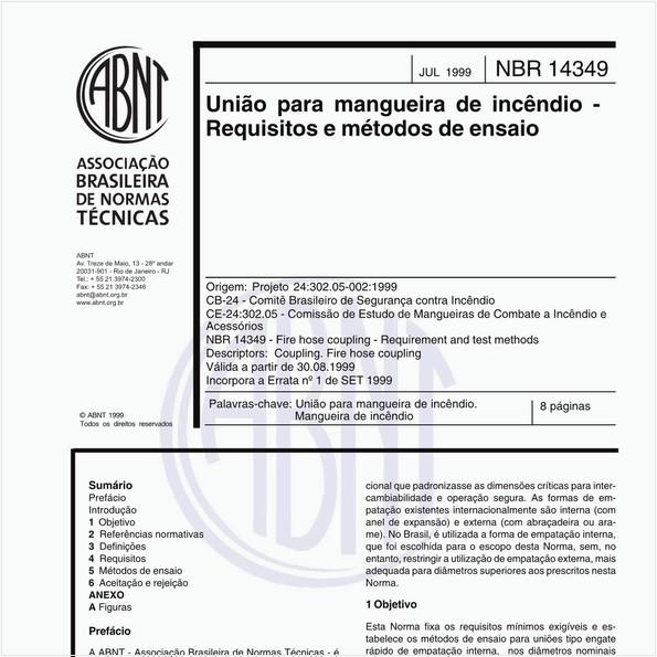 União para mangueira de incêndio - Requisitos e métodos de ensaio