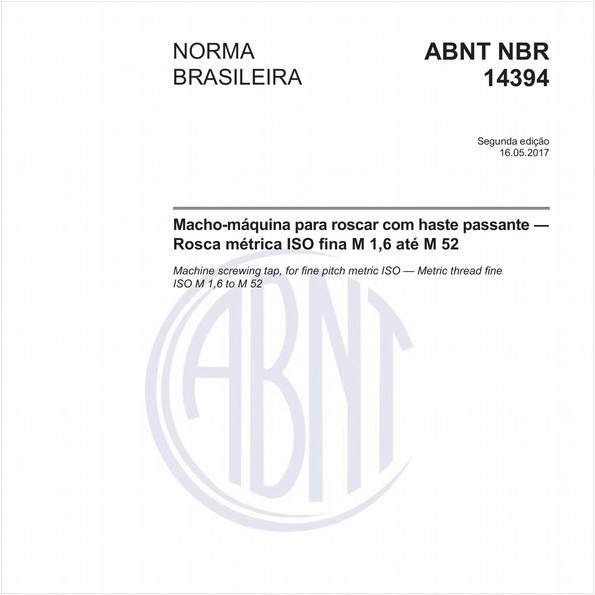 Macho-máquina para roscar com haste passante - Rosca métrica ISO fina M 1,6 até M 52