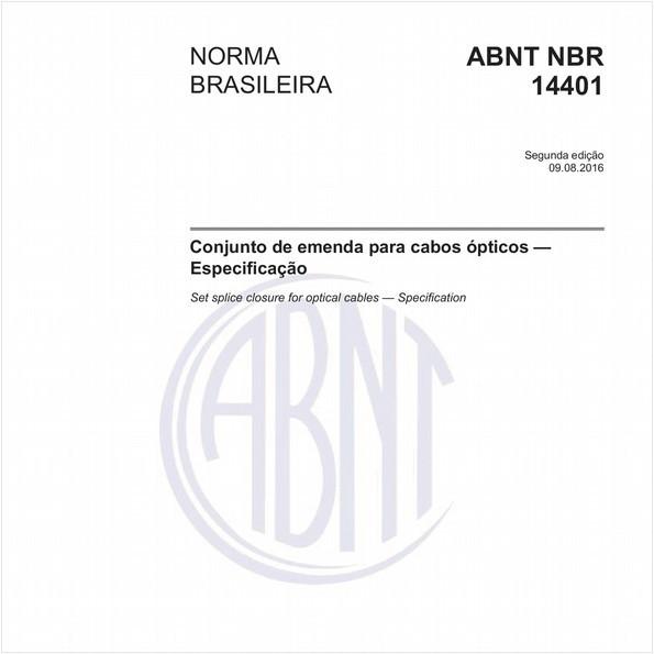 Conjunto de emenda para cabos ópticos - Especificação