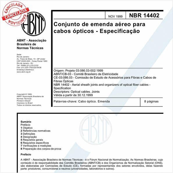 Conjunto de emenda aéreo para cabos ópticos - Especificação