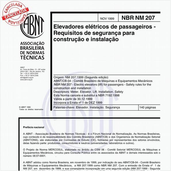 Elevadores elétricos de passageiros - Requisitos de segurança para construção e instalação