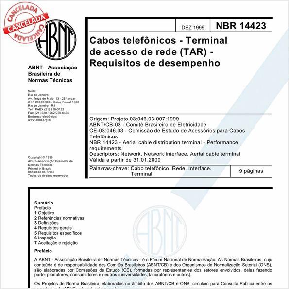 Cabos telefônicos - Terminal de acesso de rede (TAR) - Requisitos de desempenho