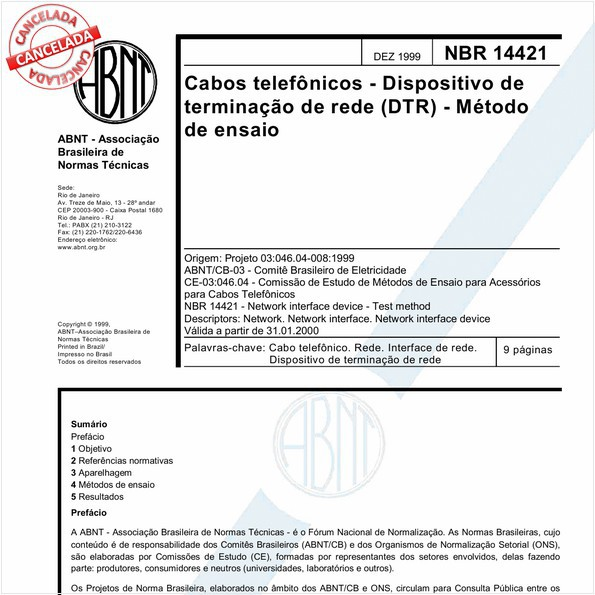 Cabos telefônicos - Dispositivo de terminação de rede (DTR) - Método de ensaio