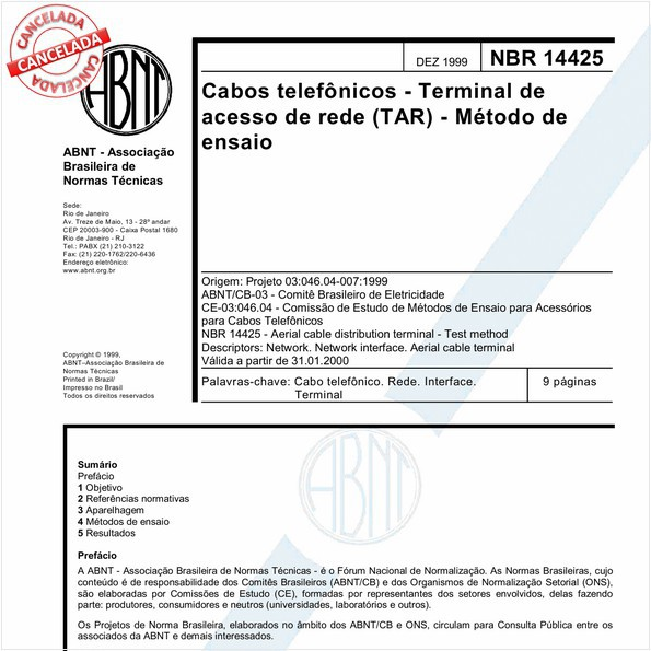 Cabos telefônicos - Terminal de acesso de rede (TAR) - Método de ensaio