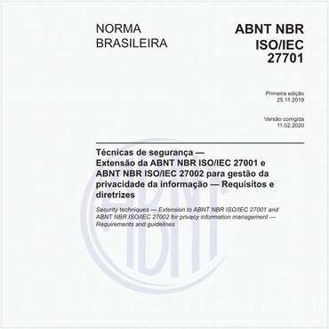 NBRISO/IEC27701 de 11/2019