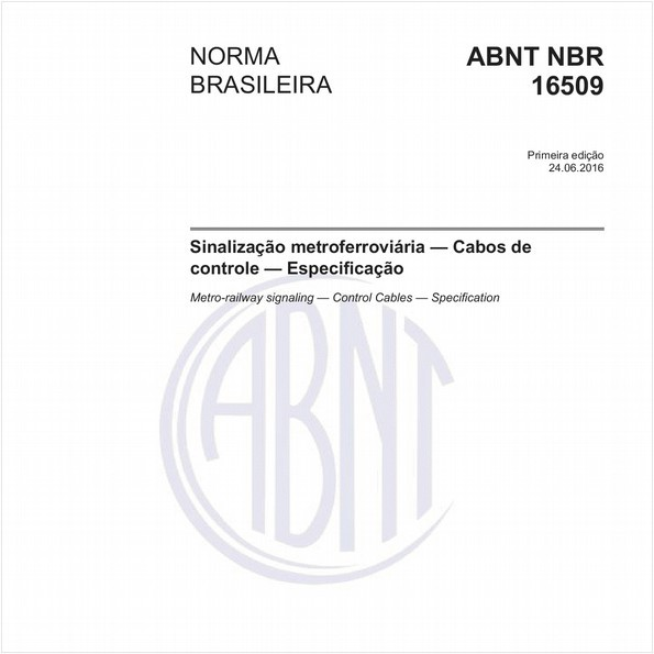 Sinalização metroferroviária - Cabos de controle - Especificação
