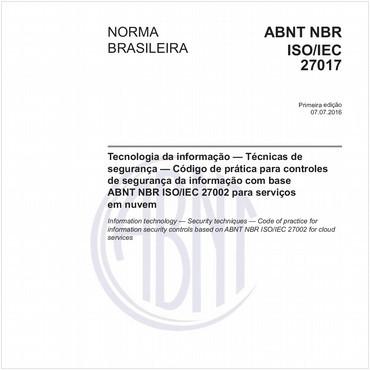 NBRISO/IEC27017 de 07/2016