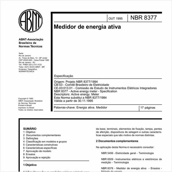 Medidor de energia ativa - Especificação