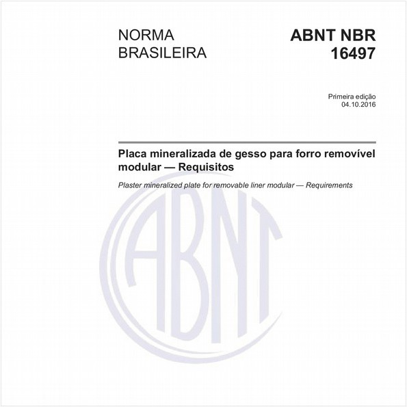 Placa mineralizada de gesso para forro removível modular — Requisitos