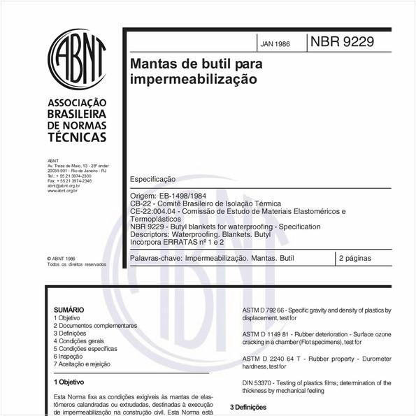 Mantas de butil para impermeabilização - Especificação