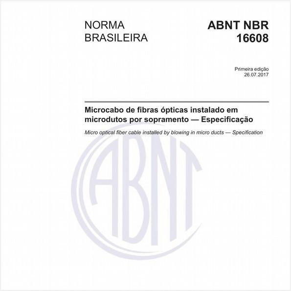 Microcabo de fibras ópticas instalado em microdutos por sopramento — Especificação