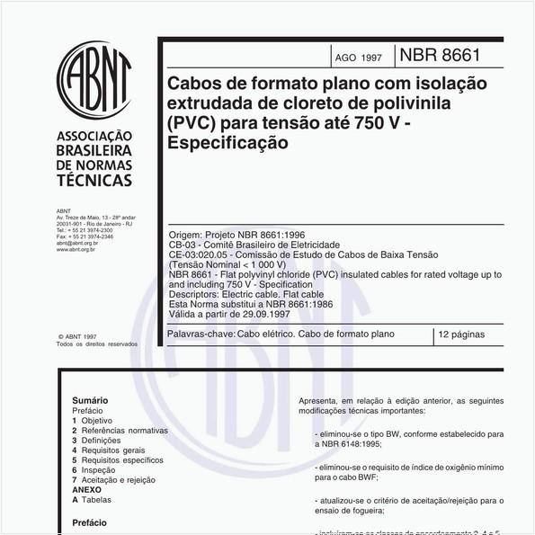 Cabos de formato plano com isolação extrudada de cloreto de polivinila (PVC) para tensão até 750V - Especificação