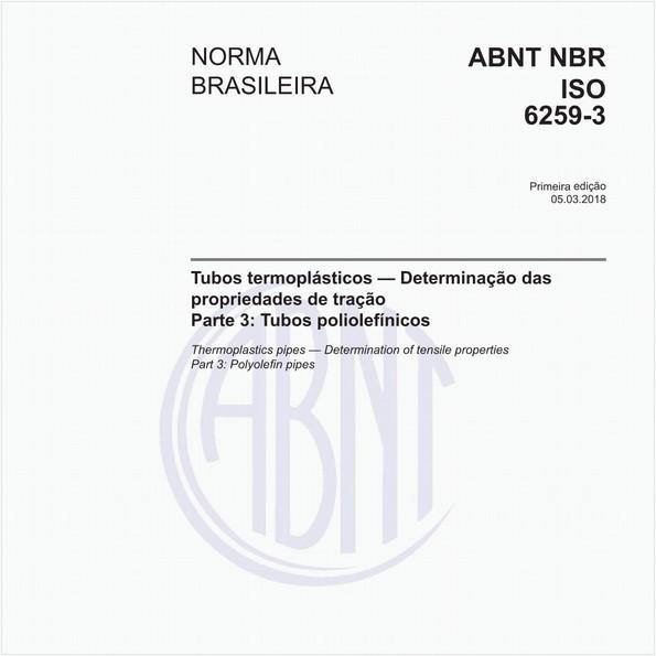 Tubos termoplásticos - Determinação das propriedades de tração - Parte 3: Tubos poliolefínicos