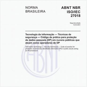 NBRISO/IEC27018 de 10/2018