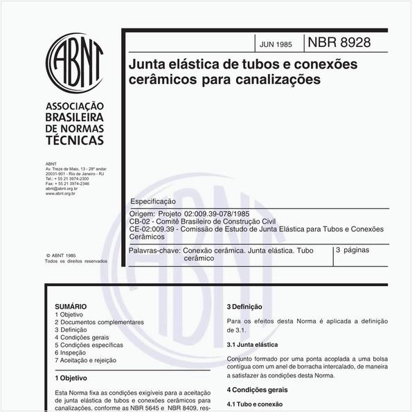 Junta elástica de tubos e conexões cerâmicos para canalizações - Especificação