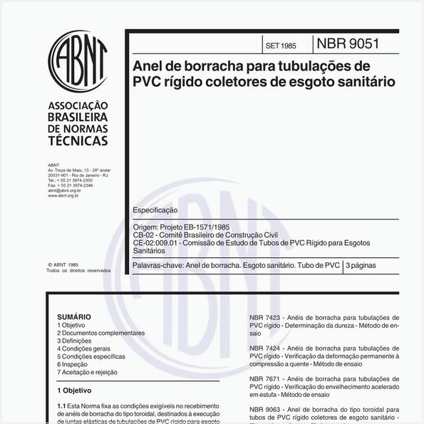Anel de borracha para tubulações de PVC rígido coletores de esgoto sanitário - Especificação