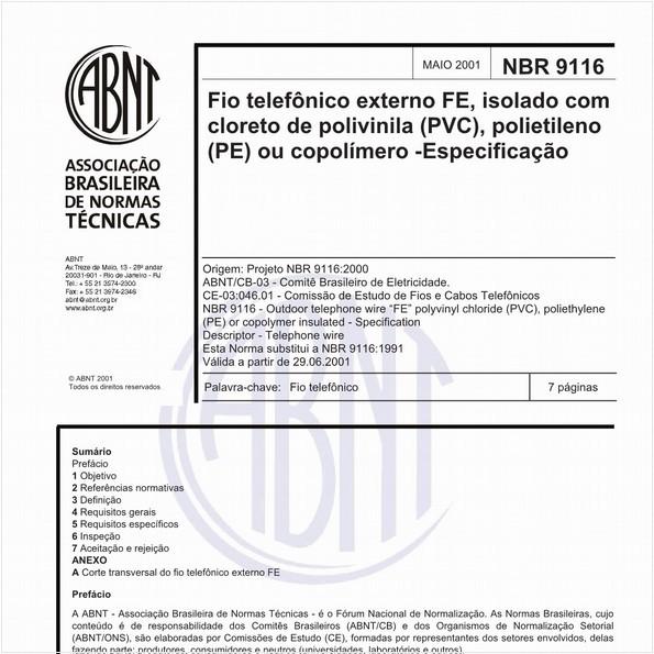 Fio telefônico externo FE, isolado com cloretode polivinila (PVC), polietileno (PE) ou copolímero - Especificação