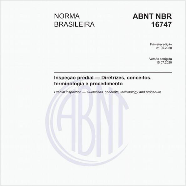 Inspeção predial - Diretrizes, conceitos, terminologia e procedimento