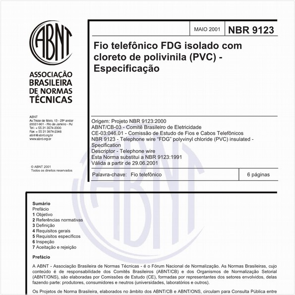 Fio telefônico FDG isolado com cloreto de polivinila (PVC) - Especificação
