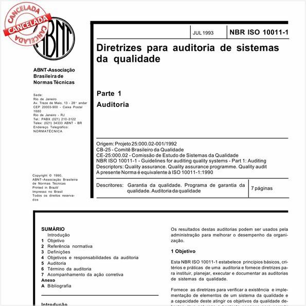 Diretrizes para auditoria de sistemas da qualidade - Parte 1: Auditoria